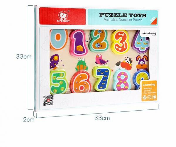Puzzle din lemn - Numere si animalute [5]