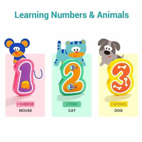 Puzzle din lemn - Numere si animalute [7]