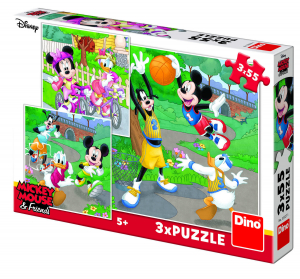 Puzzle 3 in 1 - Mickey si Minnie sportivii (55 piese)0