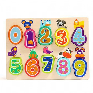 Puzzle din lemn - Numere si animalute [4]