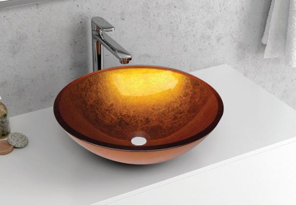 VETRO - Vas Lavoar de sticla - GOLD - 420x420x140 mm [2]
