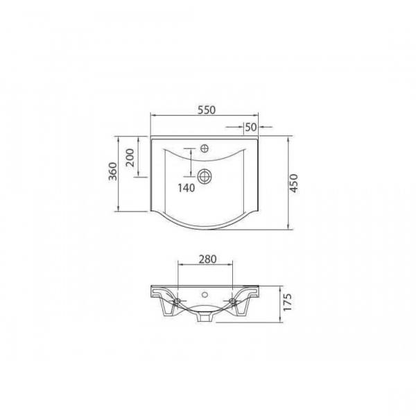 BASIC 7055 - Vas Lavoar 550x450x175mm 1