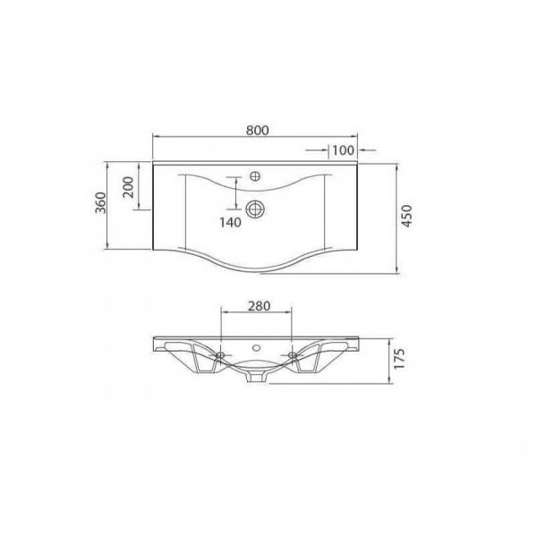 BASIC 7080 - Vas Lavoar  800x450x175mm 1