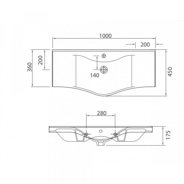 BASIC 7100 - Vas Lavoar 1000x450x175mm 1