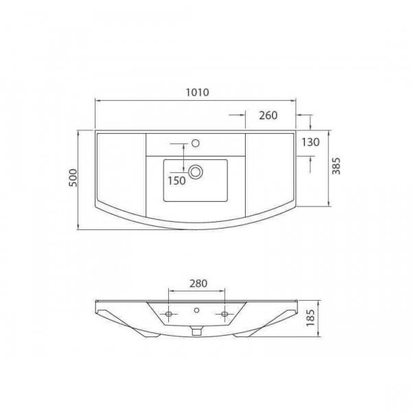 BIANNA 4841 - Vas Lavoar 1010x500x185mm 1