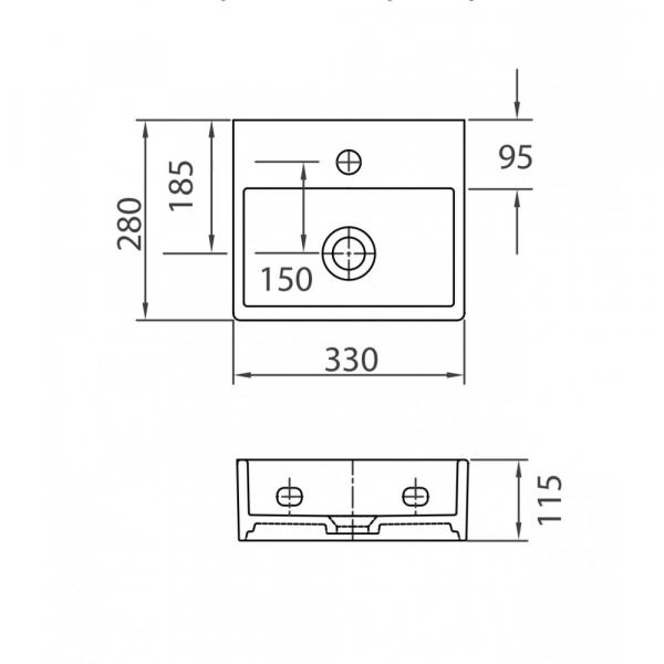 DAPHNE 53706 - Vas Lavoar 330x280x115mm 1