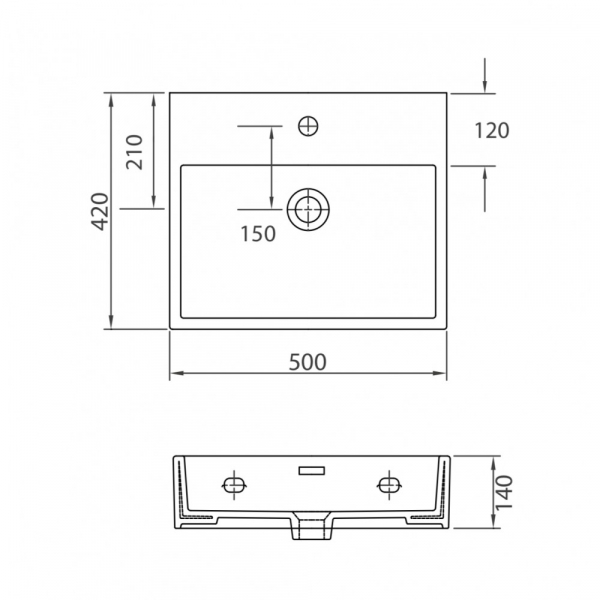 DAPHNE 53709 - Vas Lavoar  500x420x140mm 1