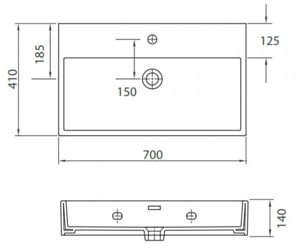 DAPHNE 53710 - Vas Lavoar 700χ410χ140mm 1