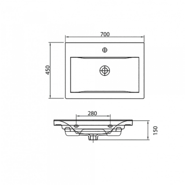 DELFT 61070 - Vas Lavoar 700χ440χ150mm 1