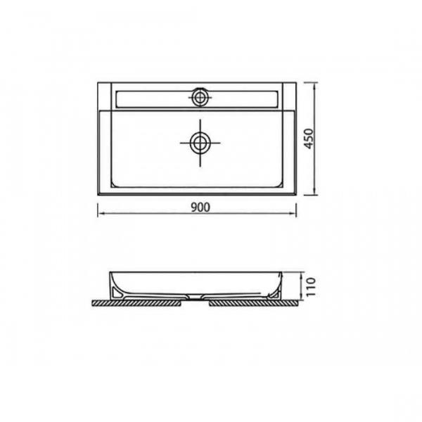 EDGE 6490 - Vas Lavoar 900χ450χ110mm 1