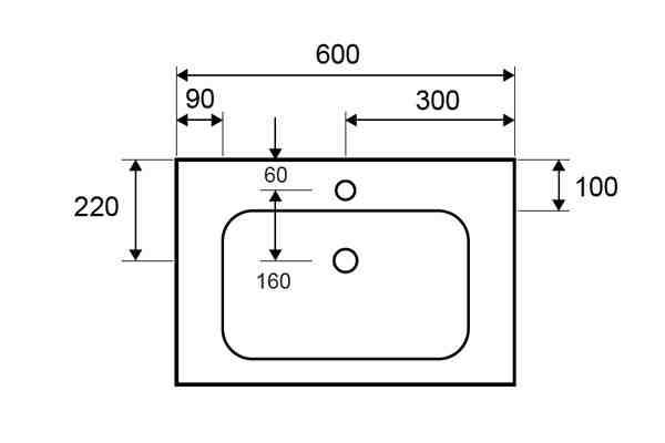 ELOISE 60 - Vas Lavoar 600x460x160mm - solid surface [1]
