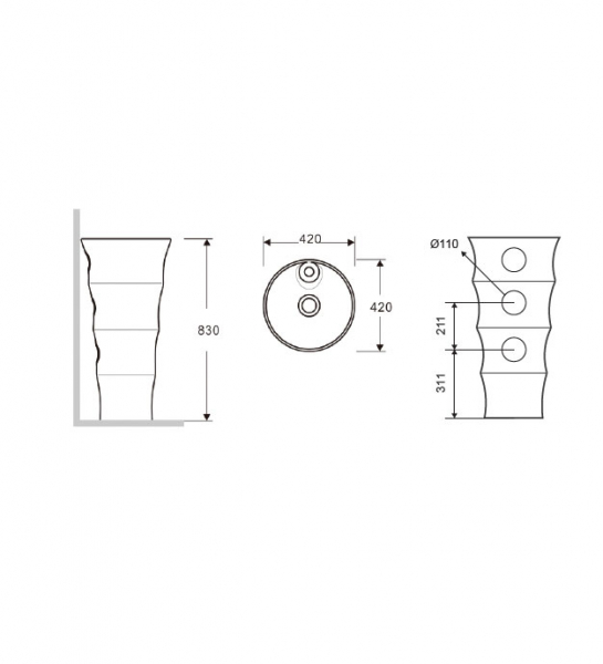 ELYSEE G-308-Vas Lavoar 420x420x830mm 1