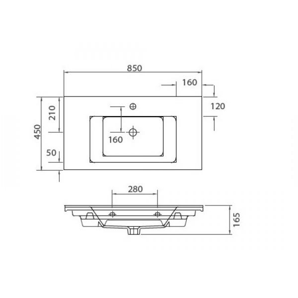 ETNA 1085 - Vas Lavoar 850x450x165mm 1