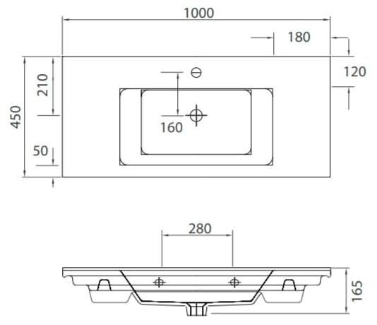 ETNA 1100 -Vas Lavoar 1000x450x165mm 1