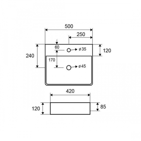 LT 2173-S MATBLACK - Vas Lavoar 500χ420χ120mm [1]