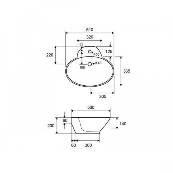 LT 3072 - Vas Lavoar 610x500x200mm 1