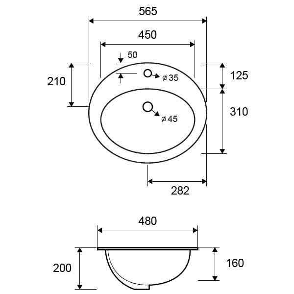 LT 6002 - Vas Lavoar 565 x 480 x 200 mm 1