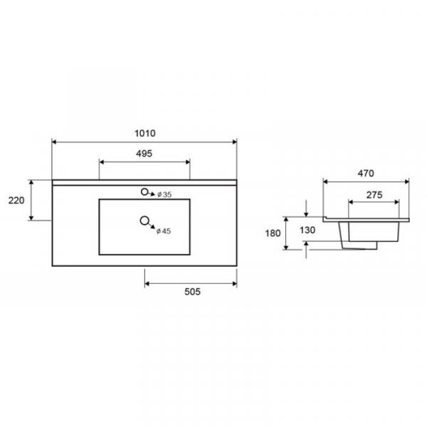 LT 7506-100 - Vas Lavoar 1010x470x180mm 1