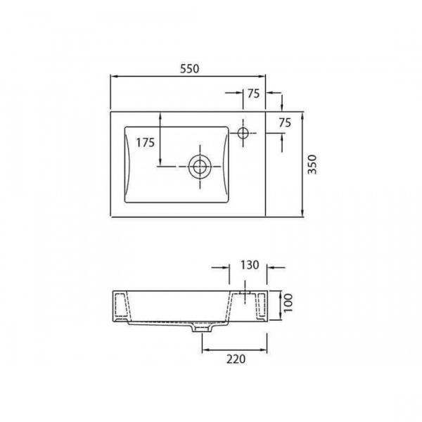MINOS 4056 - Vas Lavoar 550χ350χ100mm 1