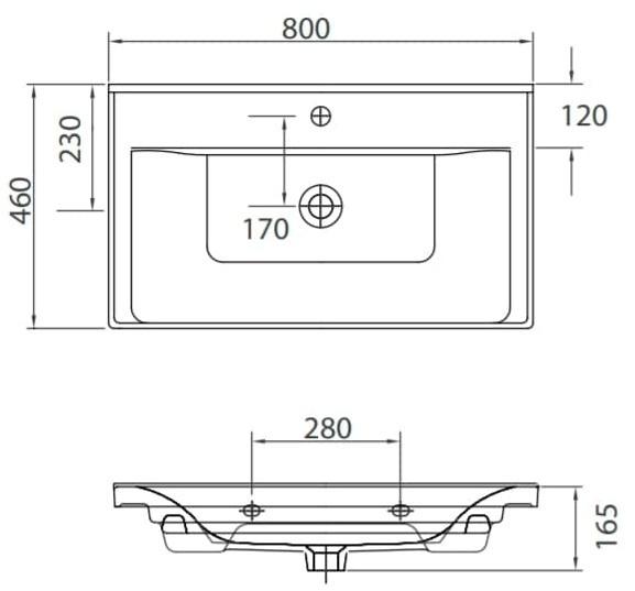 SAVA 2080 - Vas Lavoar 800x460x165mm 1