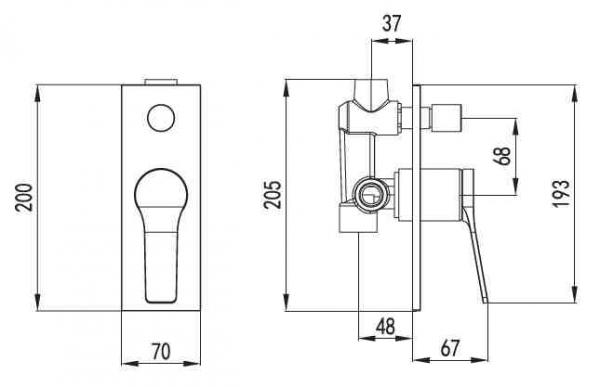 Baterie de dus 4 moduri -  incorporata - ANDARE NERO [1]