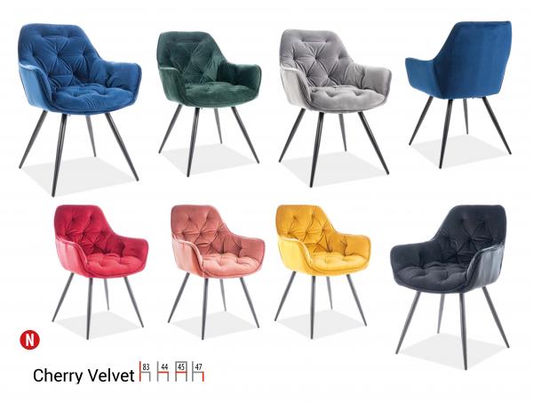 Scaun Cherry Velvet Verde – l44 x A45 x H83 cm [1]