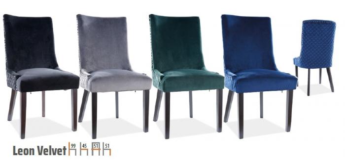 Scaun Leon Velvet Albastru – 55lx45Ax99h cm [1]