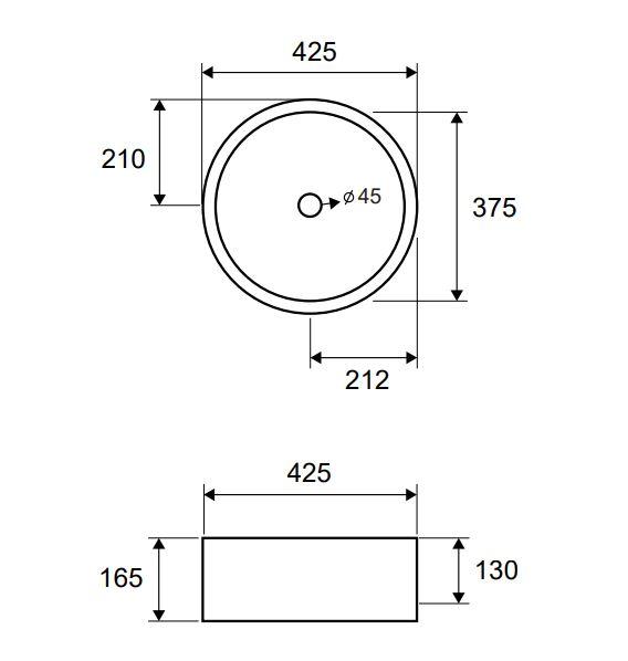 LT 3070 - Vas Lavoar 425χ425χ165mm 1