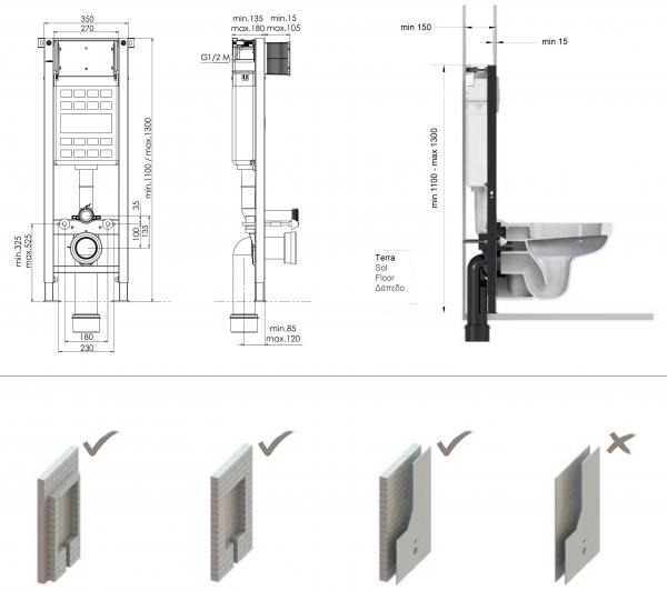 T07-5113 Rezervor wc încorporat cu dimensiuni speciale 3