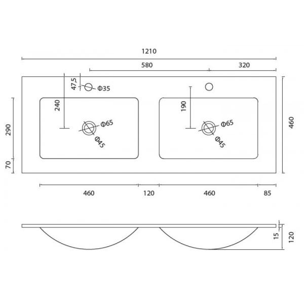 VETRO - Vas Lavoar de sticla - 1210x460x120 mm [1]