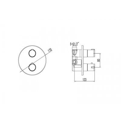 Baterie dus incorporata - 4 moduri - TERMOSTATIC [1]