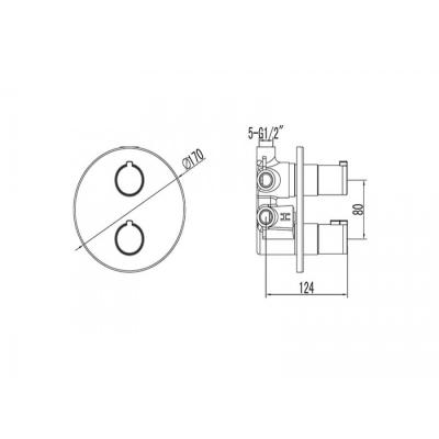Baterie dus incorporata - 5 moduri - TERMOSTATIC [1]