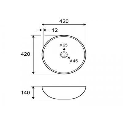 VETRO - Vas Lavoar de sticla - GOLD - 420x420x140 mm [1]