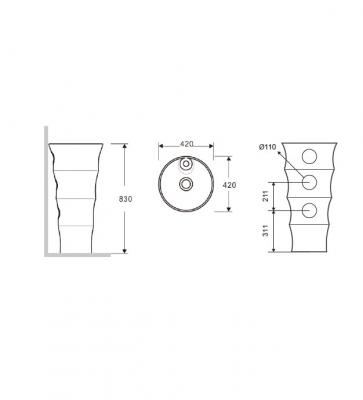 ELYSEE G-308-Vas Lavoar 420x420x830mm1