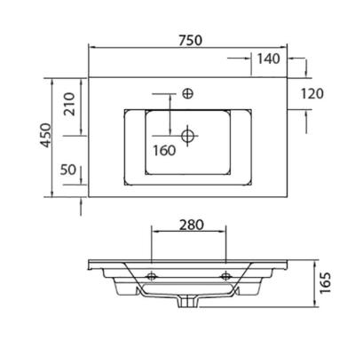 ETNA 1075 - Vas Lavoar 750x450x165mm [1]