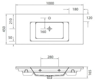 ETNA 1100 -Vas Lavoar 1000x450x165mm1
