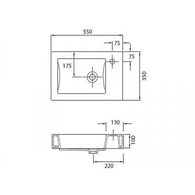 MINOS 4056 - Vas Lavoar 550χ350χ100mm1