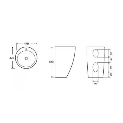 TROCADERO G-301-Vas Lavoar 470x470x830mm [1]