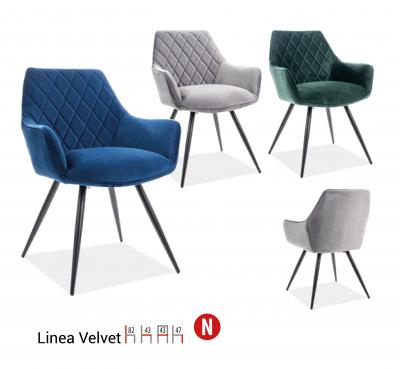 Scaun Linea Velvet Gri – l43 x A43 x H82 cm [1]