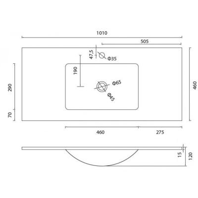 VETRO - Vas Lavoar de sticla - 1010x460x120 mm [1]