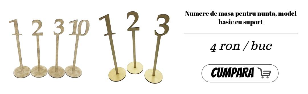 Numere de masa pentru nunta, model basic cu suport