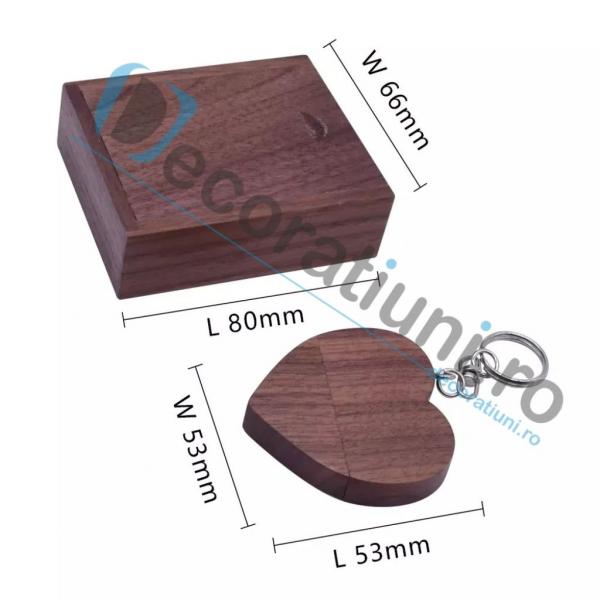 Stick usb inima si cutie din lemn - lemn nuc 2