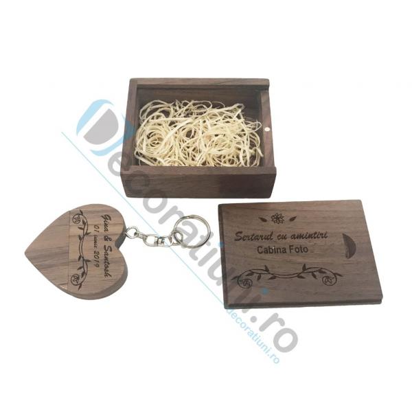 Stick usb inima si cutie din lemn - lemn nuc 3