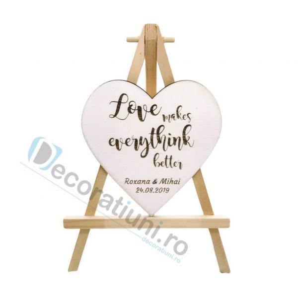 Marturie din lemn cu magnet pentru nunta - model SweetHeart [1]
