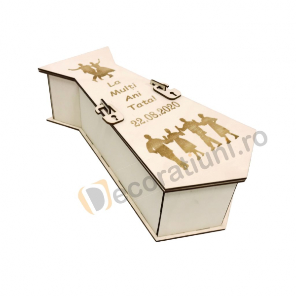 Cutie din lemn pentru vin - model cravata 2