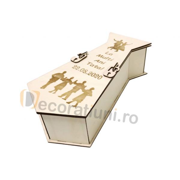 Cutie din lemn pentru vin - model cravata 3