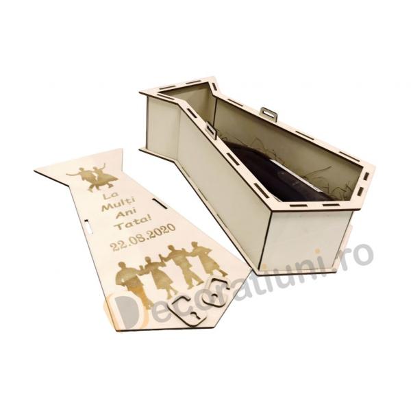 Cutie din lemn pentru vin - model cravata 4