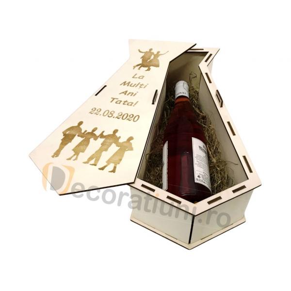 Cutie din lemn pentru vin - model cravata 6