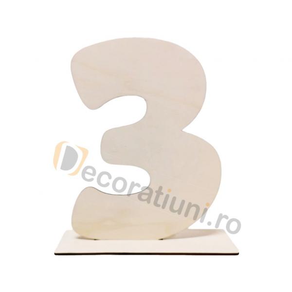 Cifra volumetrica din lemn cu suport - 40cm inaltime 0