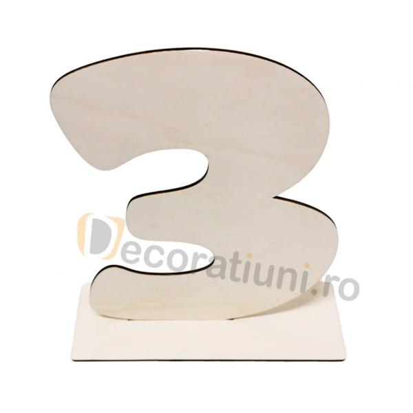Cifra volumetrica din lemn cu suport - 40cm inaltime 1